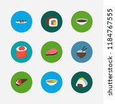 sushi icons set. onigiri and... | Shutterstock . vector #1184767555
