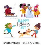 set multiracial kids playing in ... | Shutterstock .eps vector #1184779288