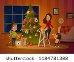 happy family mom and two... | Shutterstock .eps vector #1184781388