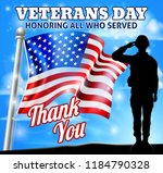 a patriotic soldier saluting... | Shutterstock .eps vector #1184790328