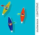 kayaking man vector. rafting.... | Shutterstock .eps vector #1184792965