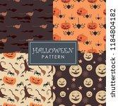 unique halloween patterns set | Shutterstock .eps vector #1184804182