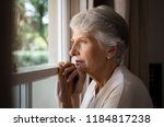 depressed senior woman at home... | Shutterstock . vector #1184817238