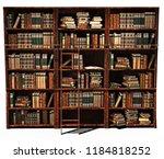 3d rendering library old books...   Shutterstock . vector #1184818252