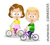 funny children riding bicycles. ... | Shutterstock .eps vector #1184830255