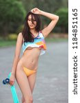 attractive sporty sexy asian... | Shutterstock . vector #1184851165