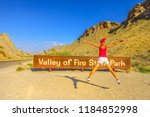 young tourist girl jumping at... | Shutterstock . vector #1184852998