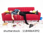young man having hangover after ... | Shutterstock . vector #1184864392