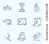 hobby icons line style set with ... | Shutterstock .eps vector #1184865148