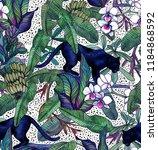 tropical leaves  bananas ... | Shutterstock . vector #1184868592