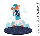 a girl on a hike in the... | Shutterstock .eps vector #1184870812