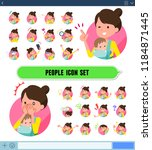a set of woman holding a baby... | Shutterstock .eps vector #1184871445