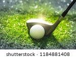 close up golf ball in grass... | Shutterstock . vector #1184881408