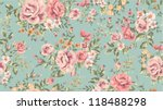 Stock vector classic wallpaper seamless vintage flower pattern on green background 118488298
