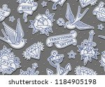 vector outline style old school ... | Shutterstock .eps vector #1184905198