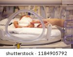 Small photo of premature neonate in a special incubator