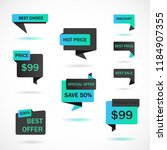 vector stickers  price tag ... | Shutterstock .eps vector #1184907355