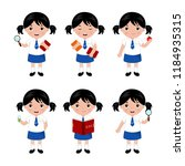 collection of little girls in... | Shutterstock .eps vector #1184935315