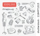 hand drawn sewing gear and... | Shutterstock .eps vector #1184971315