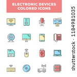 electronic devices line icons.... | Shutterstock .eps vector #1184981035