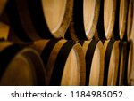 oak barrels. wine barrels... | Shutterstock . vector #1184985052