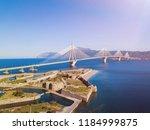 Fortress and bridge of Rio Antirio, Patra, Peloponnese, Greece. Aerial drone bird