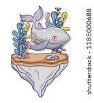 whale undersea animal cartoon   Shutterstock .eps vector #1185000688