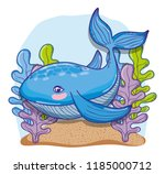 whale undersea animal cartoon | Shutterstock .eps vector #1185000712