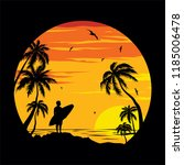 sunset beach   surfer | Shutterstock .eps vector #1185006478
