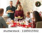 happy family having christmas... | Shutterstock . vector #1185015502