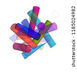 3d geometric color figures ... | Shutterstock . vector #1185024982