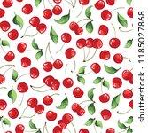 cherries fruit seamless pattern ... | Shutterstock .eps vector #1185027868