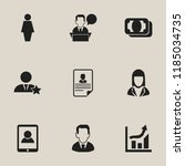 set of 9 editable trade icons.... | Shutterstock . vector #1185034735