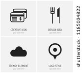 set of 4 editable travel icons. ... | Shutterstock .eps vector #1185034822