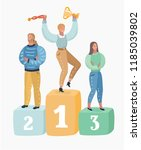 three people standing on podium ...   Shutterstock .eps vector #1185039802