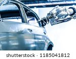 the robot arm on the... | Shutterstock . vector #1185041812