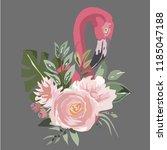 flamingos in flowers3 vector   Shutterstock .eps vector #1185047188