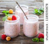 chia pudding in glass with... | Shutterstock . vector #1185050878