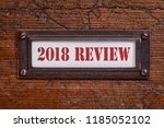 2018 review   a label on grunge ... | Shutterstock . vector #1185052102