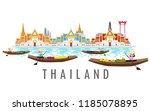 thailand landmark. travel... | Shutterstock .eps vector #1185078895