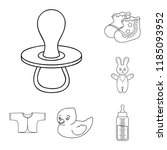 birth of a baby outline icons...   Shutterstock . vector #1185093952