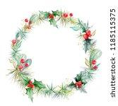 watercolor wreath of spruce...   Shutterstock . vector #1185115375