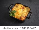 Stock photo healthy breakfast lasagna or casserole or a meat pie baked in the oven 1185150622