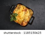Stock photo healthy breakfast lasagna or casserole or a meat pie baked in the oven 1185150625