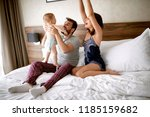 family with kid in the morning. ... | Shutterstock . vector #1185159682