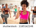 pretty female instructor with... | Shutterstock . vector #1185162148
