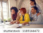 cheerful young employees... | Shutterstock . vector #1185166672