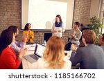 young woman on business meeting ... | Shutterstock . vector #1185166702