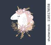 cute hand drawn girl unicorn... | Shutterstock .eps vector #1185178558