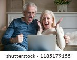 excited senior middle aged old... | Shutterstock . vector #1185179155